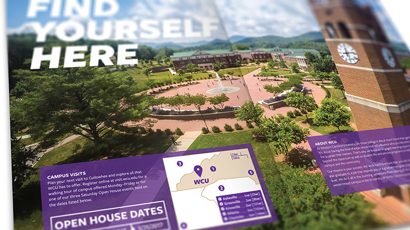 Admissions booklet showing purple overlay
