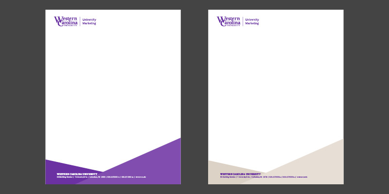 purple and gold letterhead