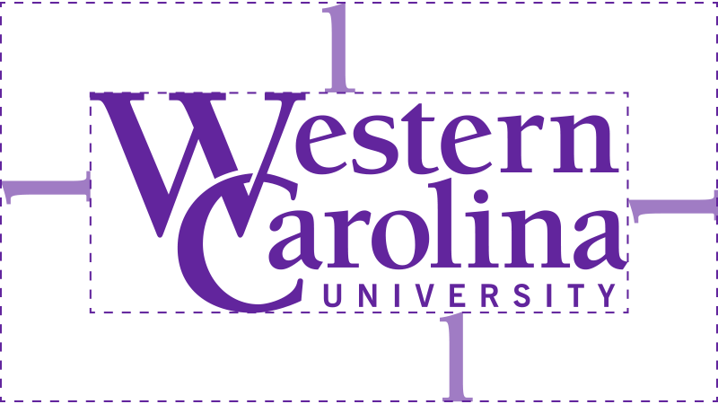 WCU logo showing free space the height of the letter l