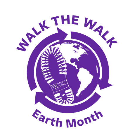 """Walk the Walk"" Earth Month logo depticting a globe with a shoe and the Western Carolina University logo"