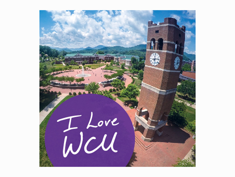 the words I Love WCU on a photo of WCU's campus