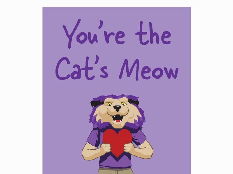 "Purple background with purple letters that say ""You're the Cats Meow"""