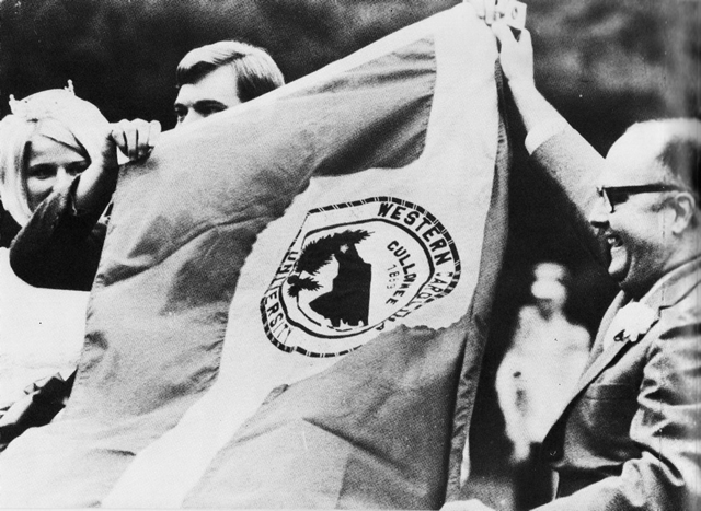 WCU's first official flag, Homecoming 1969