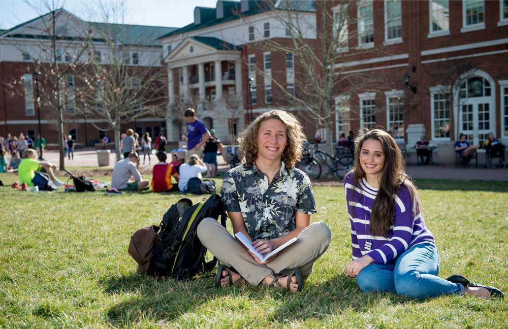 Honors students outside
