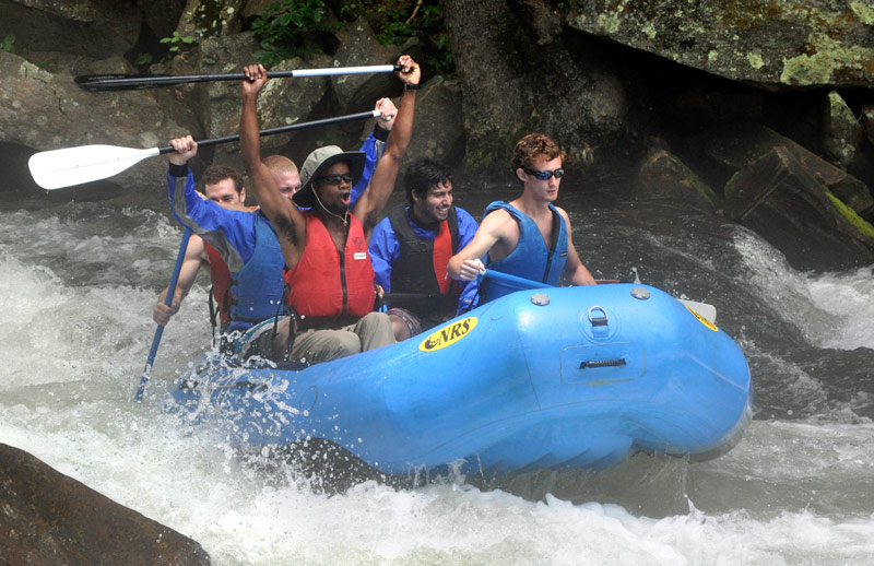 PRM Students Rafting on a river