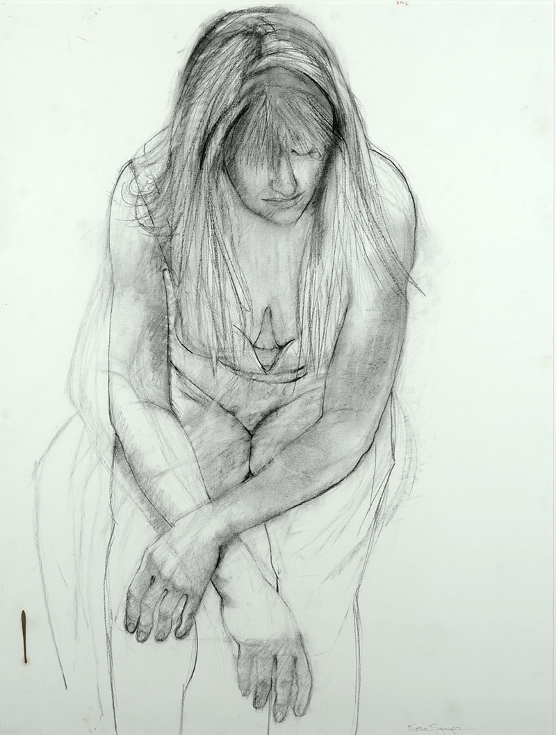 Nora Speyer, American (1923- )  Figure Study, 1980  Graphite on paper, 58 x 30 inches  Gift of the Artist