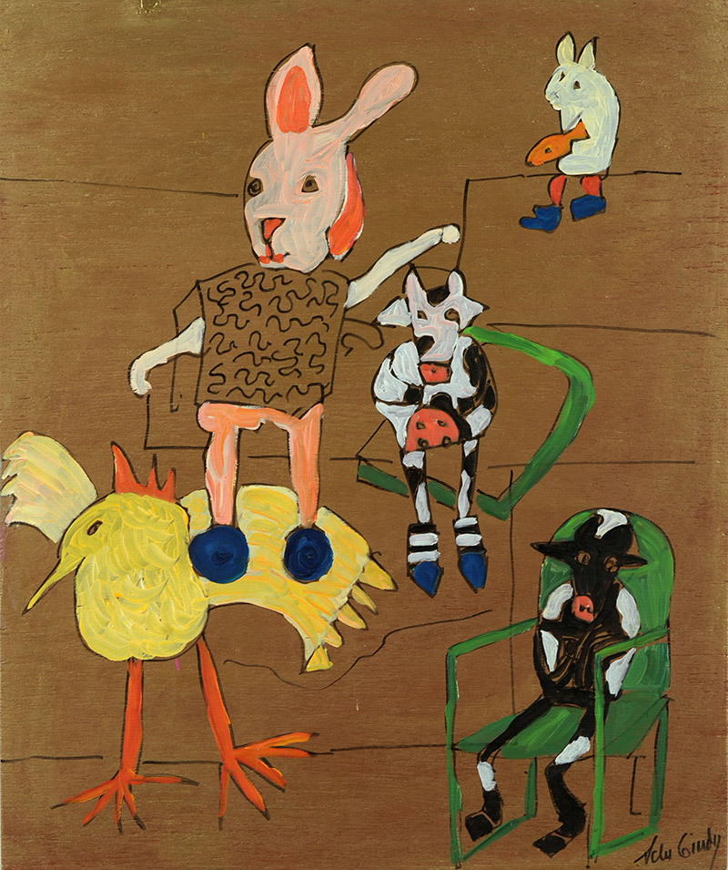 Adu Gindy, American - born Estonia  Barnyard I, 2005  Acrylic on wood, 24 x 20 inches  Museum Purchase