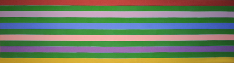 Kenneth Noland, American (1924-2010)  Reef, 1969  Acrylic on canvas, 44 x 164 ¼ inches  Gift of the Artist