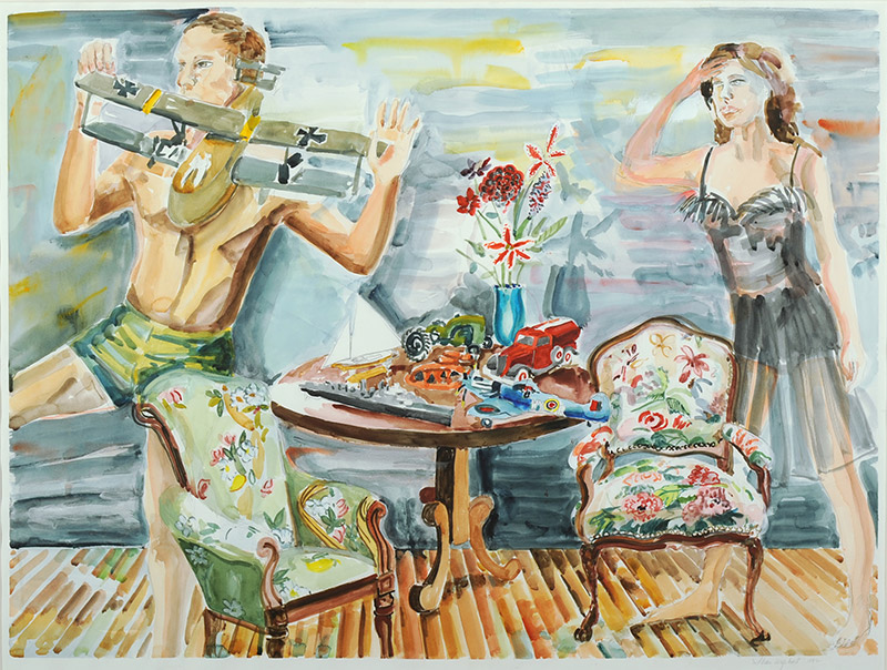 "Shari Urquhart, American  She said ""The Toys are Father to the War,"" 1992  Watercolor, 29 x 36 inches  Women's Studies Collection  Gift of the Artist"