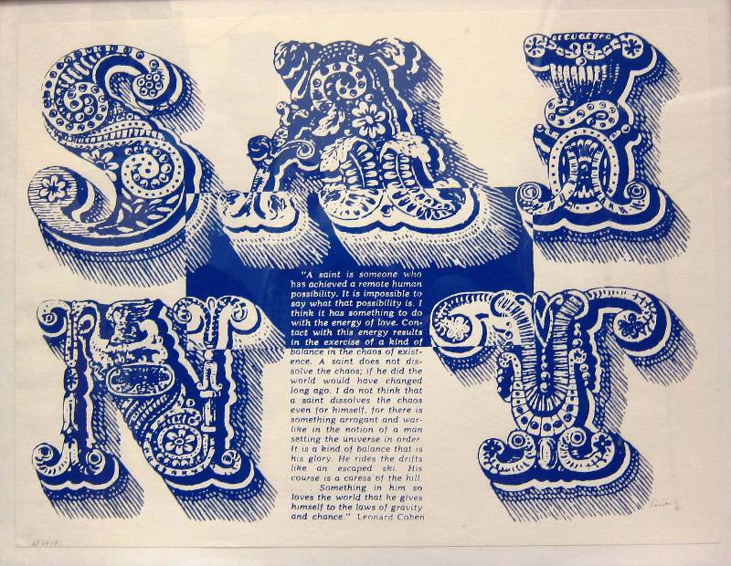 Sister Corita Kent S is for Saint serigraph on paper