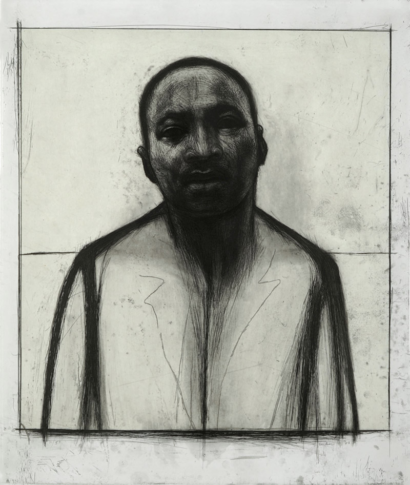 Martin Luther King Jr, etching and aquatint