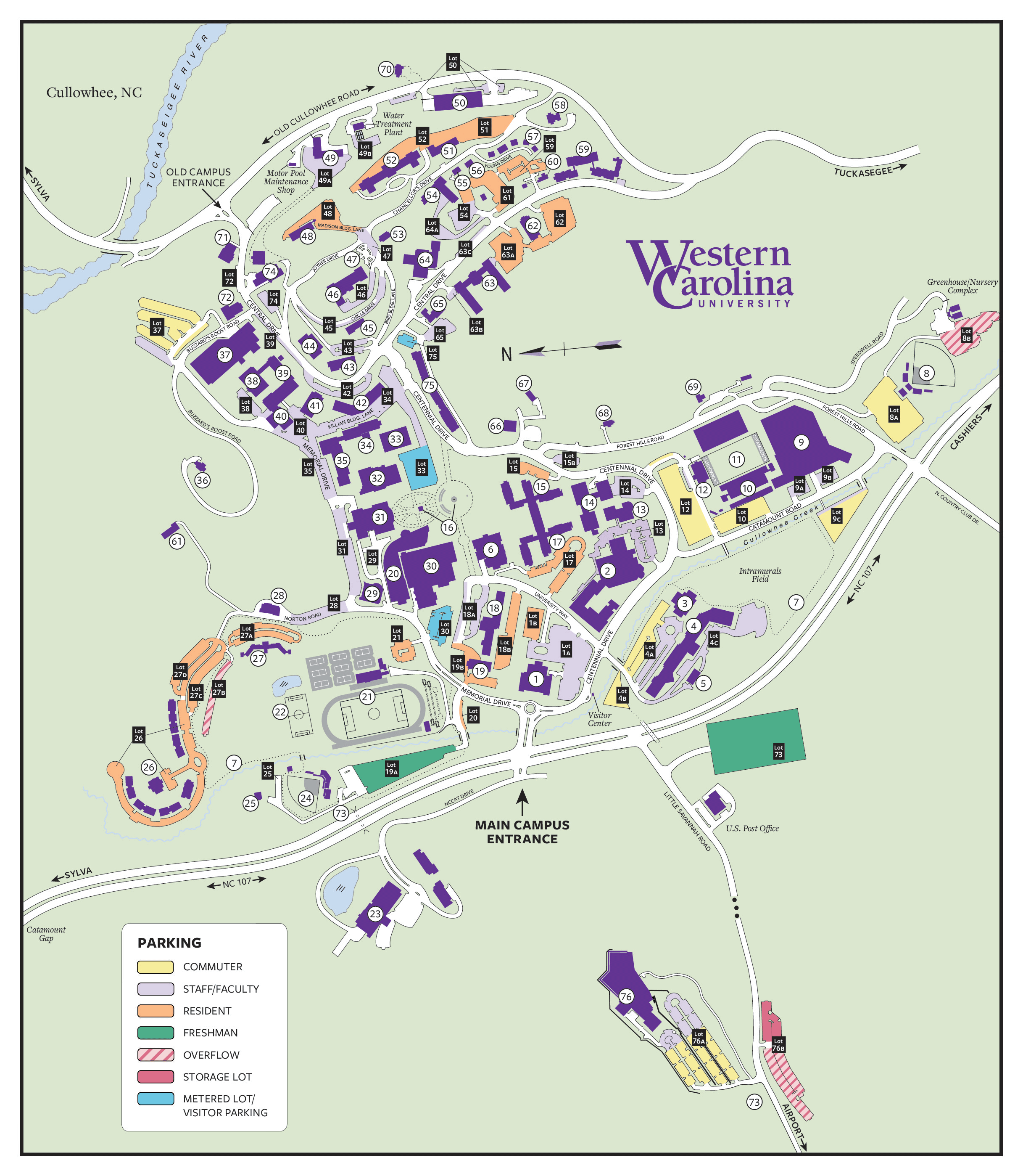 lot designation map. western carolina university  lot designation map