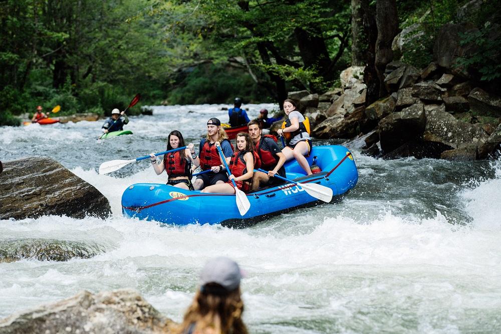 Students Rafting down the Natahala River