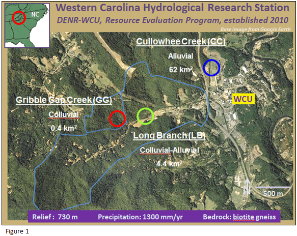 Map of Western Carolina Hydrological Research Station
