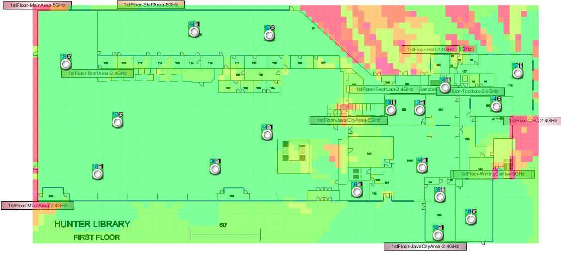 Hunter Library FIrst (Main) Floor Wireless Signal Map