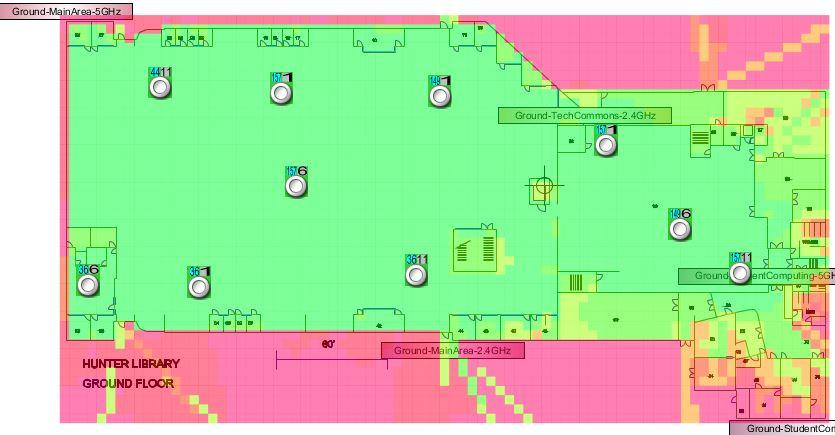 Hunter Library Ground Floor Wireless Signal Map