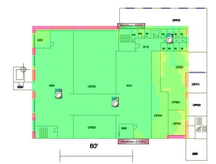 Hunter Library Lower Mezzanine Wireless Signal Map