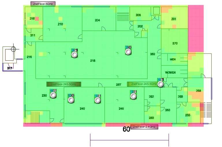 Library second floor wireless signal map