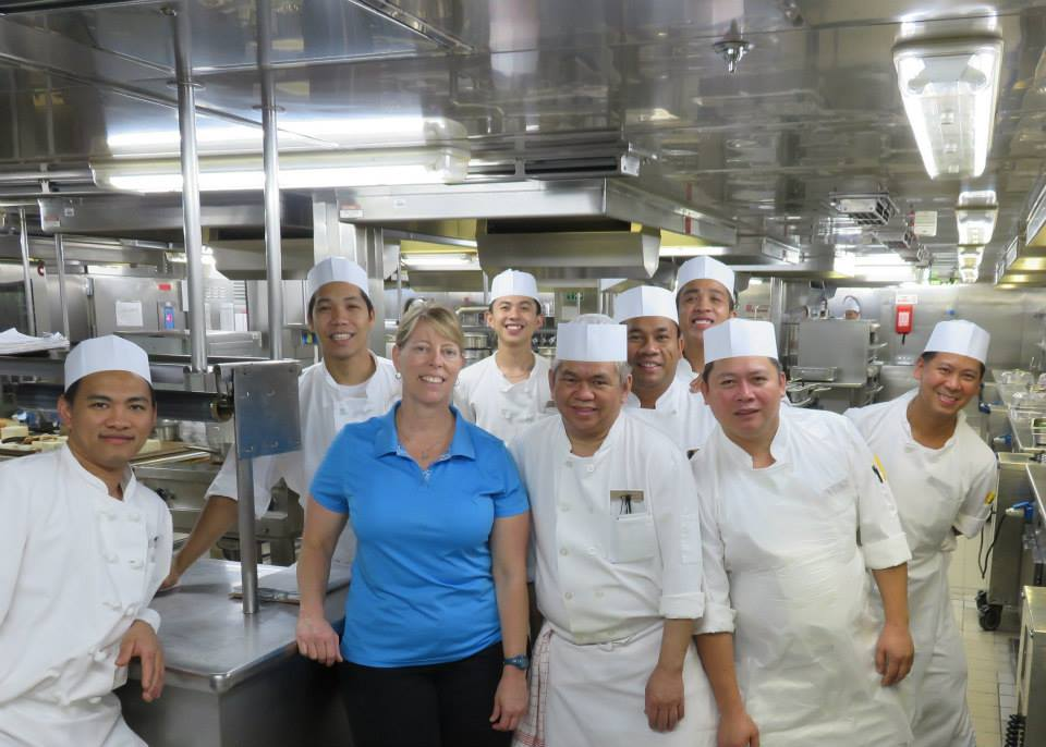 Laura Rabb in the galley of a ships