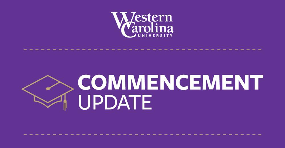 commencement update text on a purple background