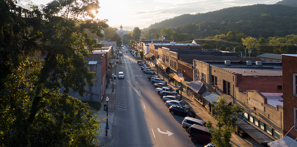 Aerial Shot of Main Street in Sylva