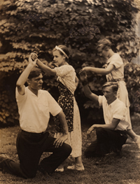 George Bidstrup with student folk dancers, circa 1926